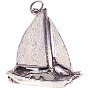 CATAMARAN Large 3-D Sterling Silver Charm