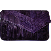 J RENEE Vintage Purple Snakeskin Shoulder Bag Clutch