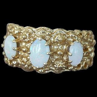 14K Gold Ring Band Three Opals