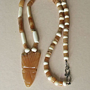 Bone and Stone Ethnic Necklace with Huge Carved Pendant