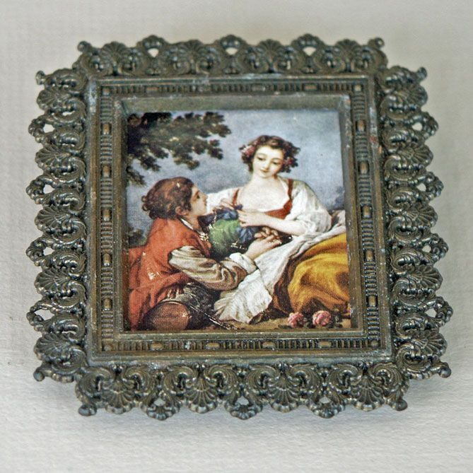 Miniature Metal Frame and Print  Italy