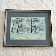 Winter Landscape Original Pastel Painting