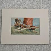 Old Original Water Media Marine Nautical Painting