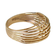 High Style 14k Gold Modernistic Ring