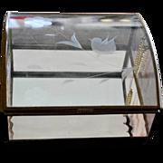 Glass Jewelry Box Etched Bird Pale Pink Wavy Glass