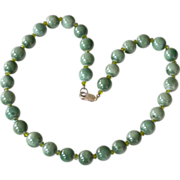 Necklace Green Stone Sterling Silver Clasp