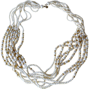 Eight Strand Faux Pearl Necklace