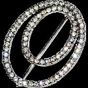 Oval Rhinestone Pin Brooch