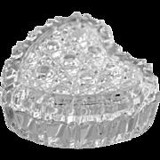Glass Heart Trinket Box Heavily Cut Crystal