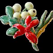 Sandor Deep Red Enamel Bouquet Pin Brooch