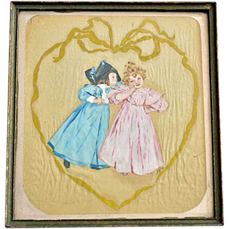 Antique Watercolor Painting on Silk Little Girls 1894