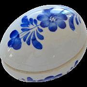 Porcelain Egg Trinket Box Blue and White