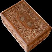Wood Box Carved Tramp Art Floral Design