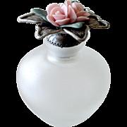 Scent or Perfume Bottle Jar Porcelain Roses