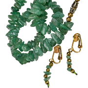 Emerald Nugget Necklace and Earrings