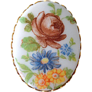 Porcelain Pin Brooch with Rose and Flowers