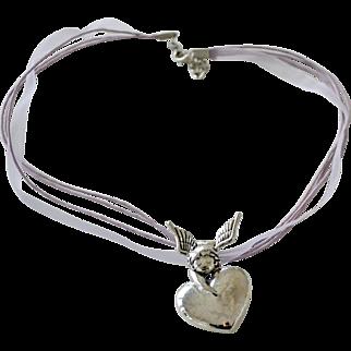 Heart Pin Pendant Necklace cherub