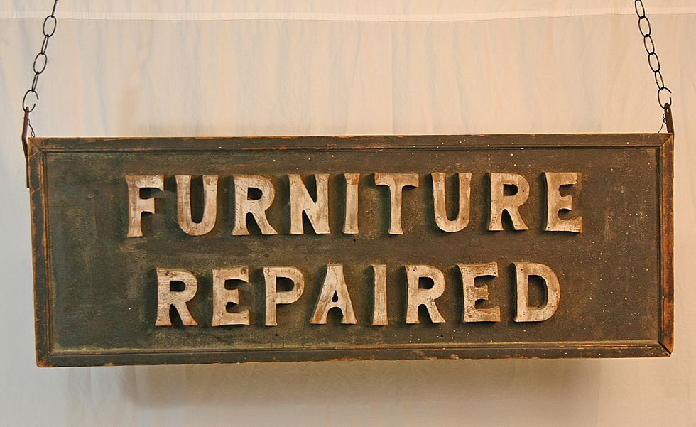 """Wooden """"Furniture Repaired"""" Trade Sign"""