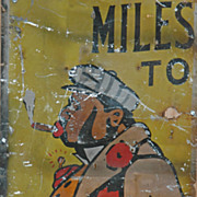 "Vintage Black Americana Painted Tin Roadside Sign - ""Spats"""