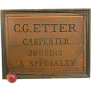 C. G. Etter Carpenter Trade Sign