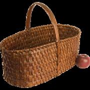 Large Rectangular Woven Splint Basket with Fixed Handle