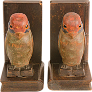 Antique Carved and Painted Parrot Book Ends
