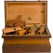 Set of Seven Instrument Maker's Wooden Planes in a Dovetailed Tool Box