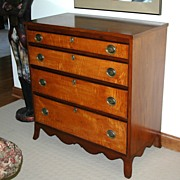 Museum Quality Federal Period Cherry and Curly Maple Dresser