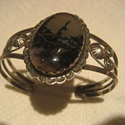 Petrified Wood & Sterling Cuff Vintage Bracelet
