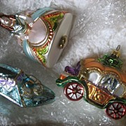Cinderella Set of Three Polonaise Ornaments In Wood Crate