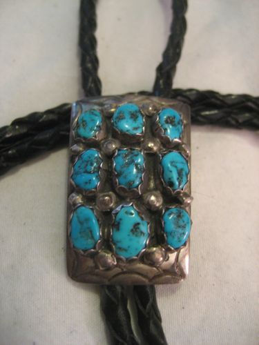 Sterling Silver & Turquoise Vintage Bolo Tie Signed