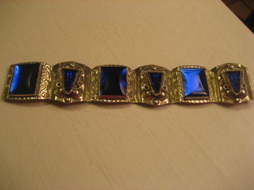 Sterling Silver & Carved Blue Glass Vintage Bracelet