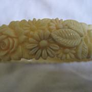 Celluloid Carved Floral Vintage Bracelet