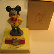 Mickey Mouse Wind Up Vintage Watch & Figurine In Box