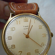 Sterling Silver & Leather Band With Vintage Timex Watch