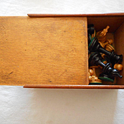 Chess Hard Wood Vintage Set In Box