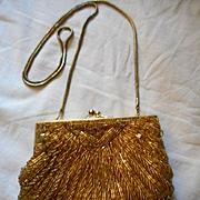 Gold Beaded Vintage Evening Bag
