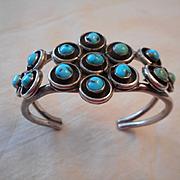 Sterling Silver Turquoise Snake Eye Vintage Bracelet