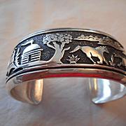 Sterling Silver Story Teller Navajo Vintage Bracelet