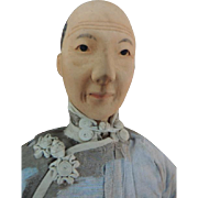 """Door of Hope Doll, Aged Woman 11"""" All Original Chinese Doll, Carved Chignon"""
