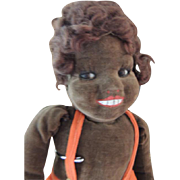 Norah Wellings Doll 17 IN Glass Eyes, Black Islander, Made in England Cloth Doll