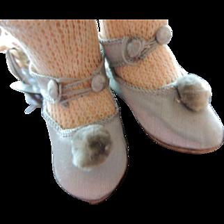 Antique Doll Shoes, Antique Blue Silk Doll Shoes, Size 9, 3 Inches, Paris Find!
