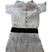 Antique Silk Doll Dress, Antique Lace and Velvet Doll Dress, 21/22 IN Doll Size