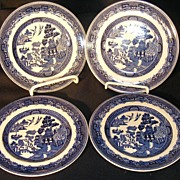 Set of 4 Johnson Brothers Blue Willow Bread & Butter Plates