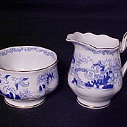 Royal Albert Mikado Mini Creamer & Sugar Blue Willow c.1930's