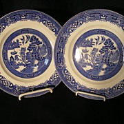 Set of 5 English Blue Willow Lunch Plates