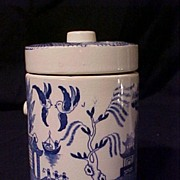 Blue Willow Round Canister Cork Trim Lid