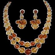 Vintage German Premium Topaz Citrine Crystal Set Necklace & Dangle Earrings