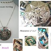 Vintage 1950's Mexican Pendant Brooch Sterling Silver VIBRANT Abalone Inlay Aztec Face Design Marked