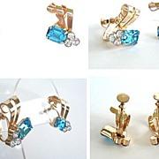 Exquisite 1940's Vintage Earrings Gold Filled Aquamarine & Clear Rhinestone Ribbon Swirls